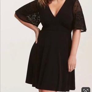 Torrid Lace Sleeve Black Skater Dress